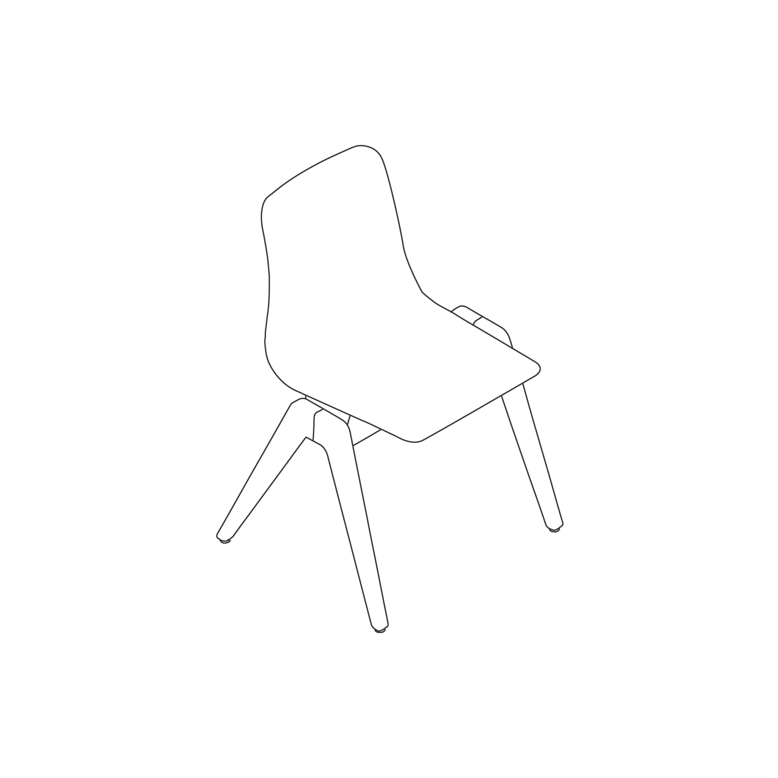 A line drawing of Polly Wood Chair–Armless.