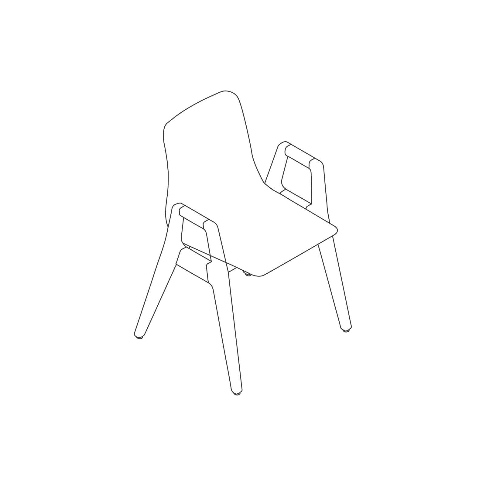 A line drawing of Polly Wood Chair–With Arms.