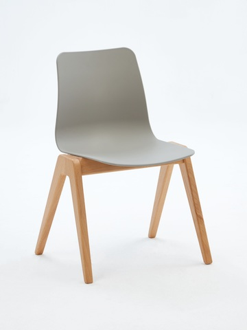 A gray naughtone Polly Wood Chair with an oak base, viewed at an angle.