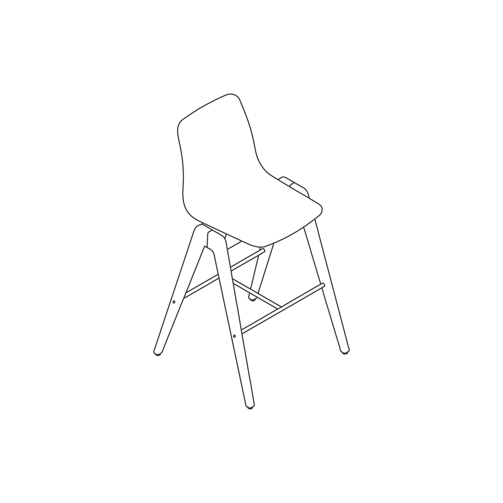 A line drawing of Polly Wood Stool–Bar Height.
