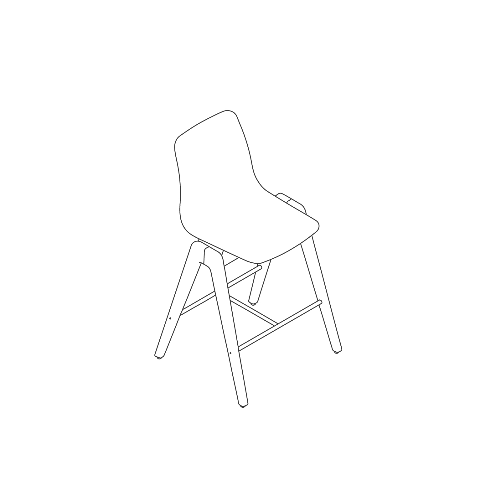 A line drawing of Polly Wood Stool–Counter Height.