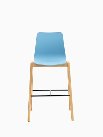 A light blue naughtone Polly Wood Stool with an oak base, viewed from the front.