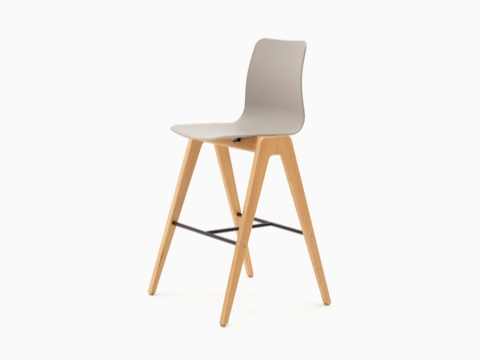 A tan naughtone Polly Wood Stool with an oak base, viewed at an angle.