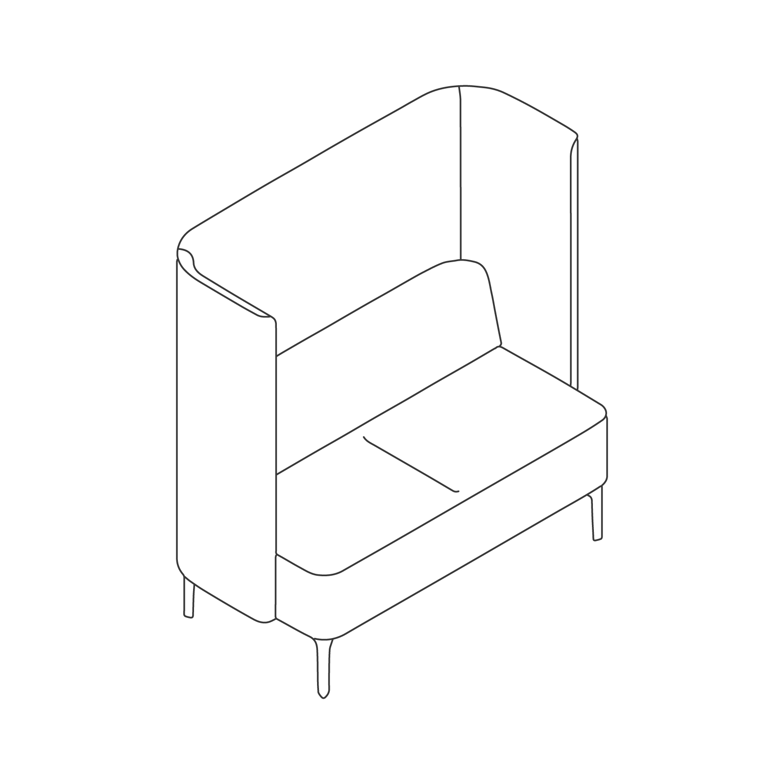 A line drawing - Pullman Sofa–2 Seat
