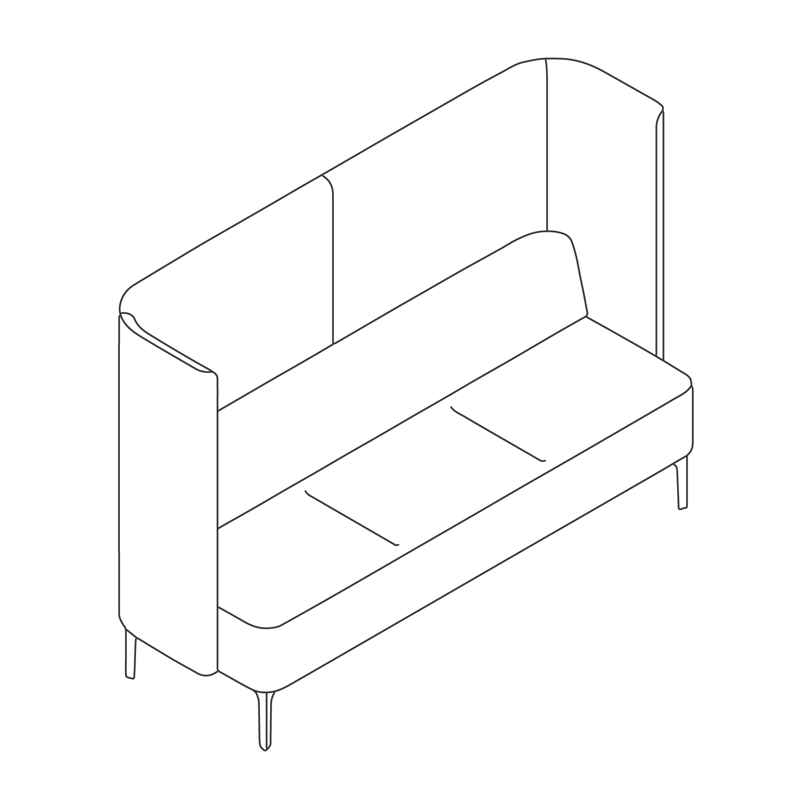 A line drawing - Pullman Sofa–3 Seat