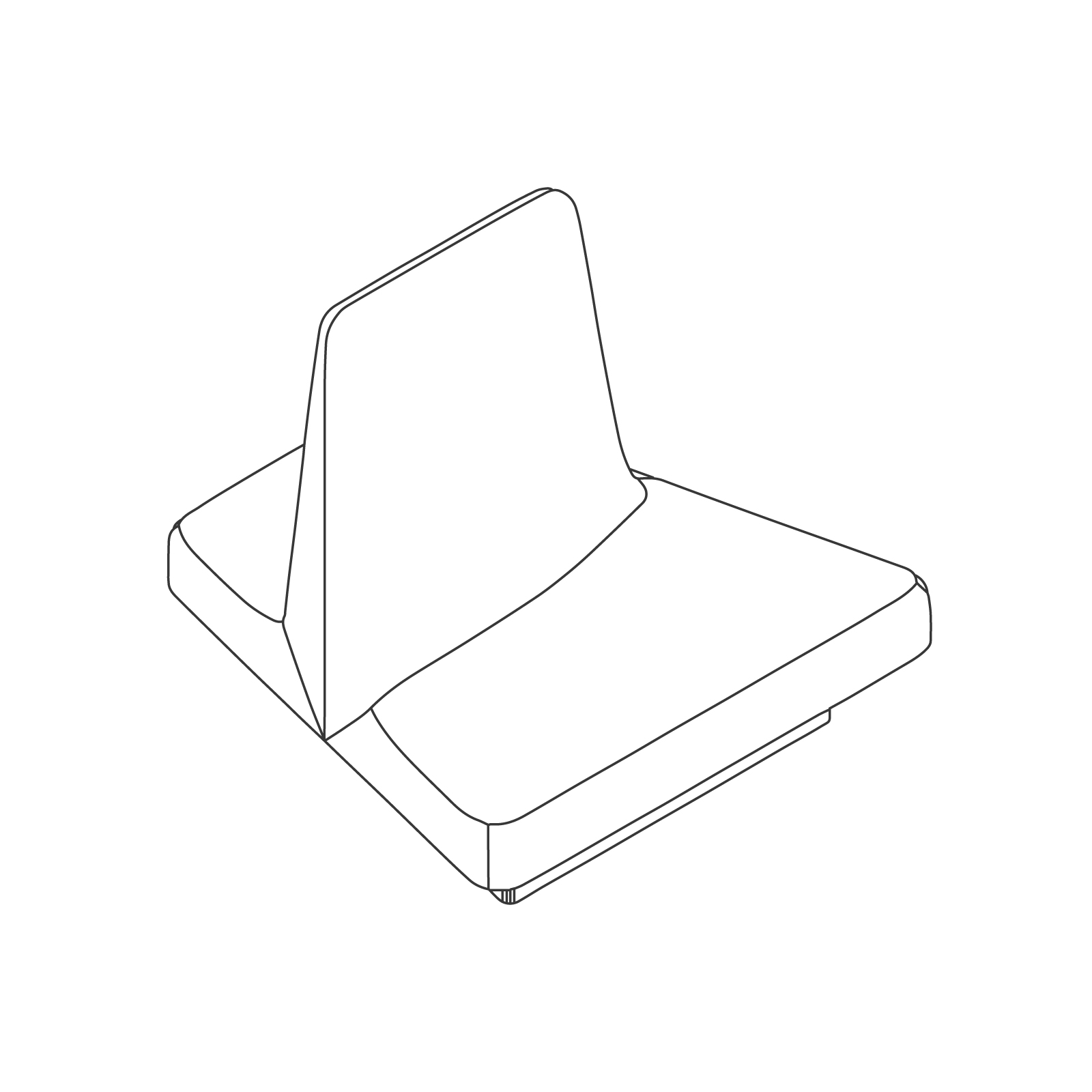 A line drawing of Rhyme Modular Seating–End A.