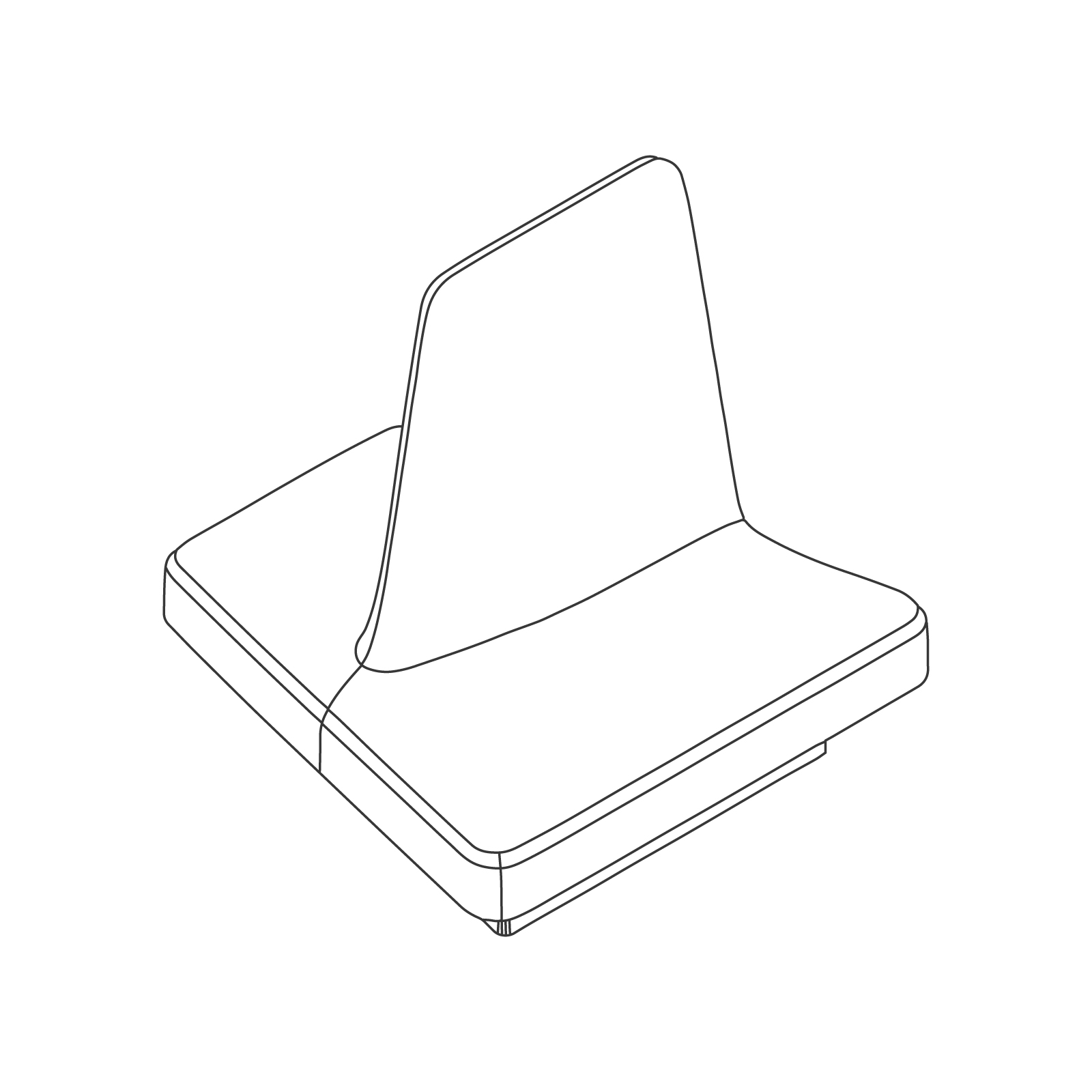 A line drawing of Rhyme Modular Seating–End B.