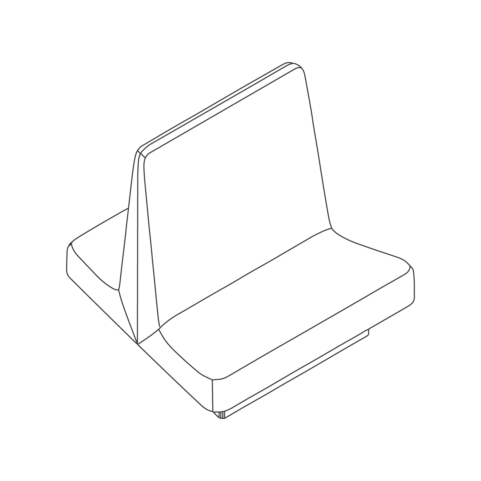 A line drawing of Rhyme Modular Seating–Middle.