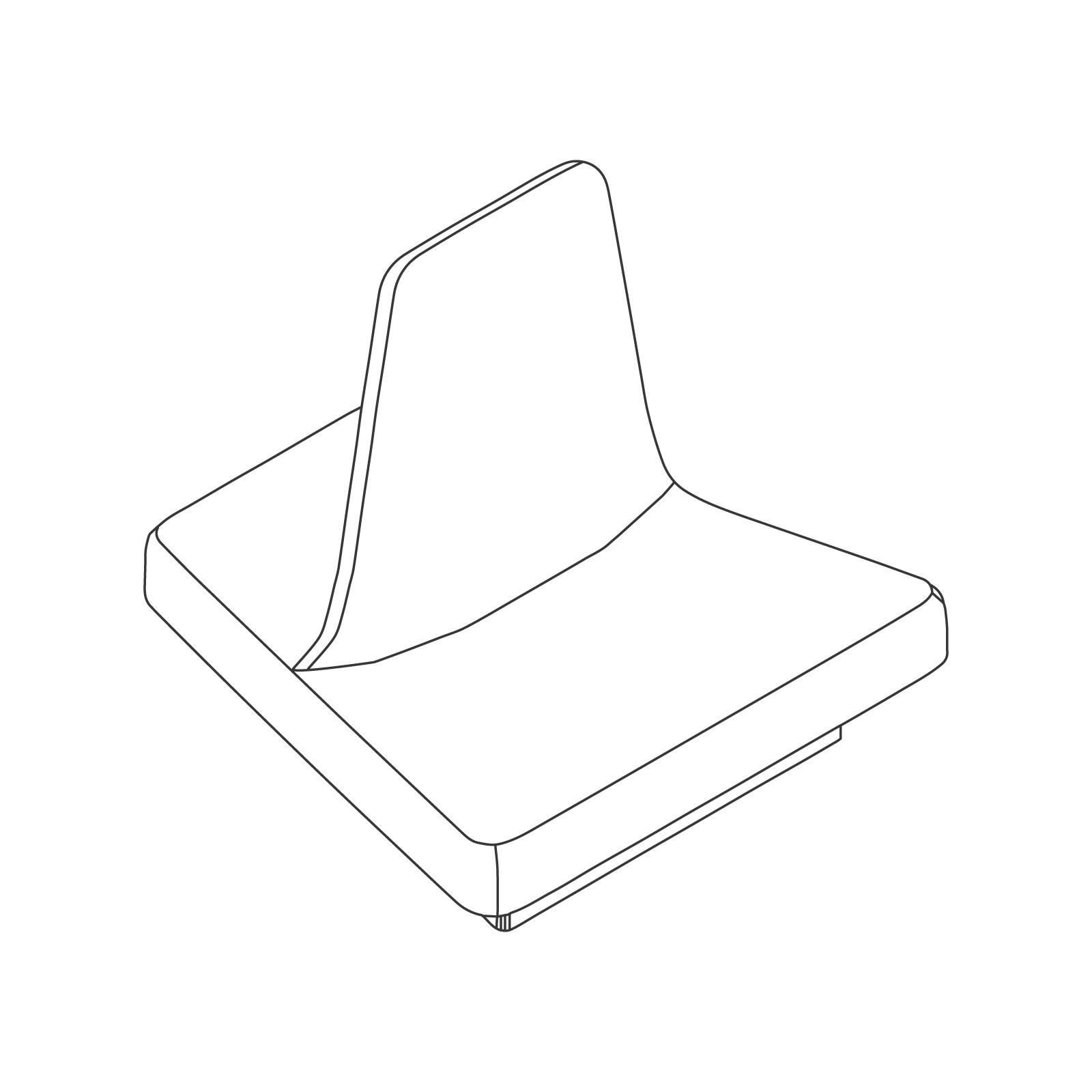 A line drawing of Rhyme Modular Seating–Single.
