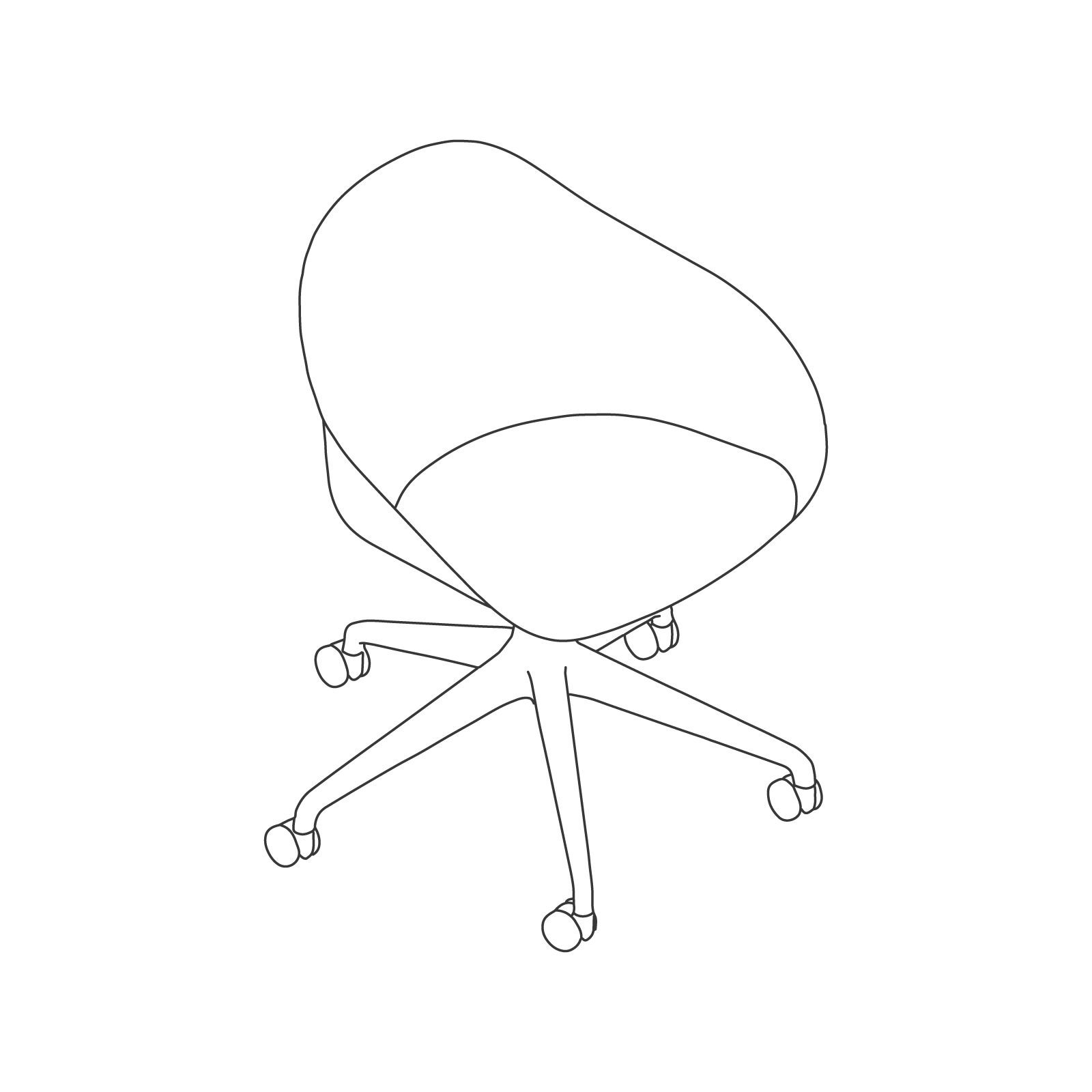 A line drawing - Ruby Chair–5-Star Base–Fixed Height