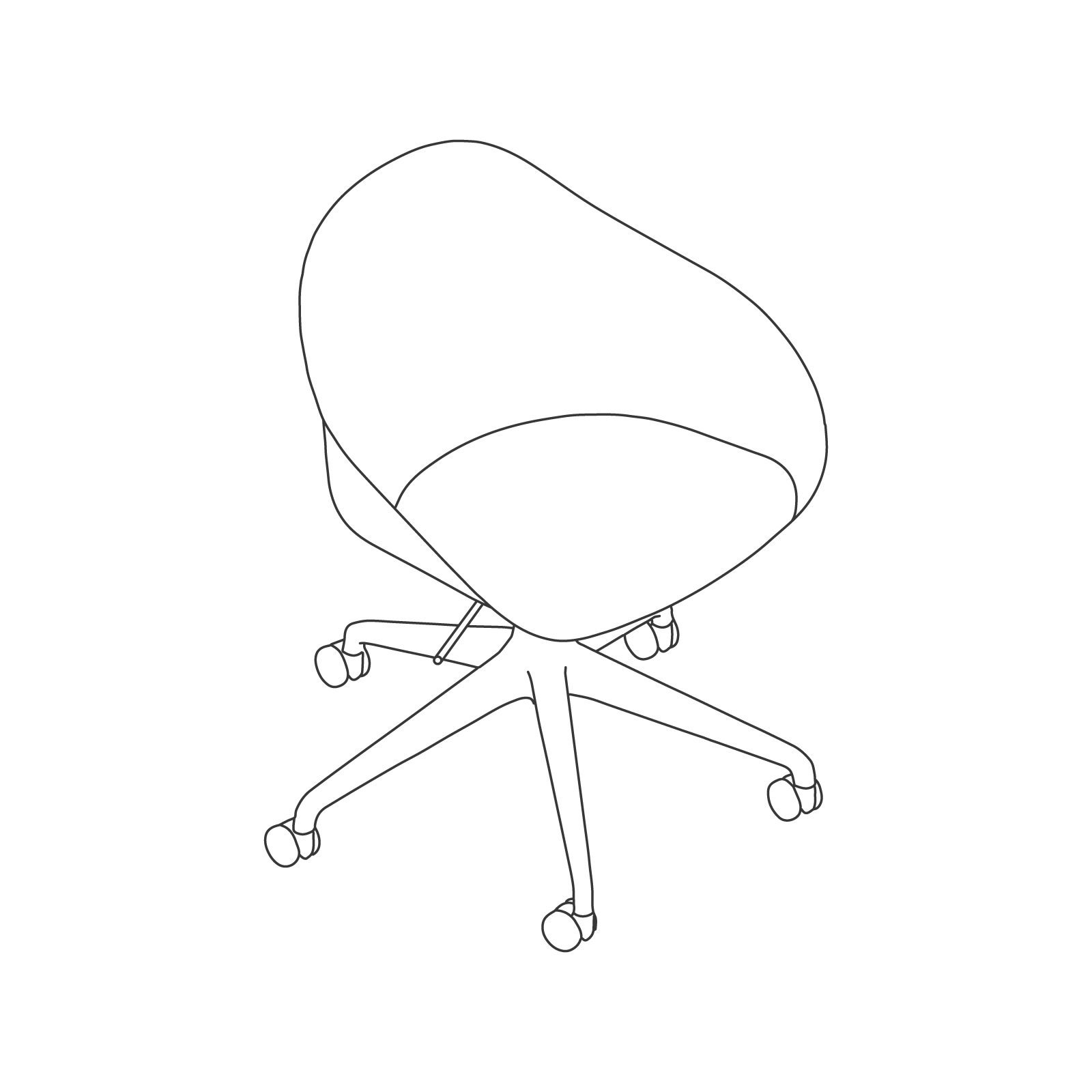A line drawing - Ruby Chair–5-Star Base–Gas Lift