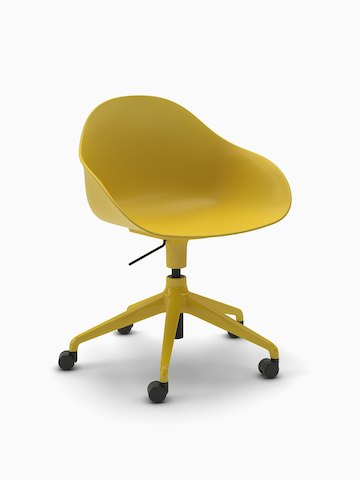 Three-quarter view of a yellow Ruby Chair with matching 5-star base with casters.