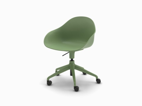 A three-quarter view of a green Ruby Chair on matching 5-star base with casters.