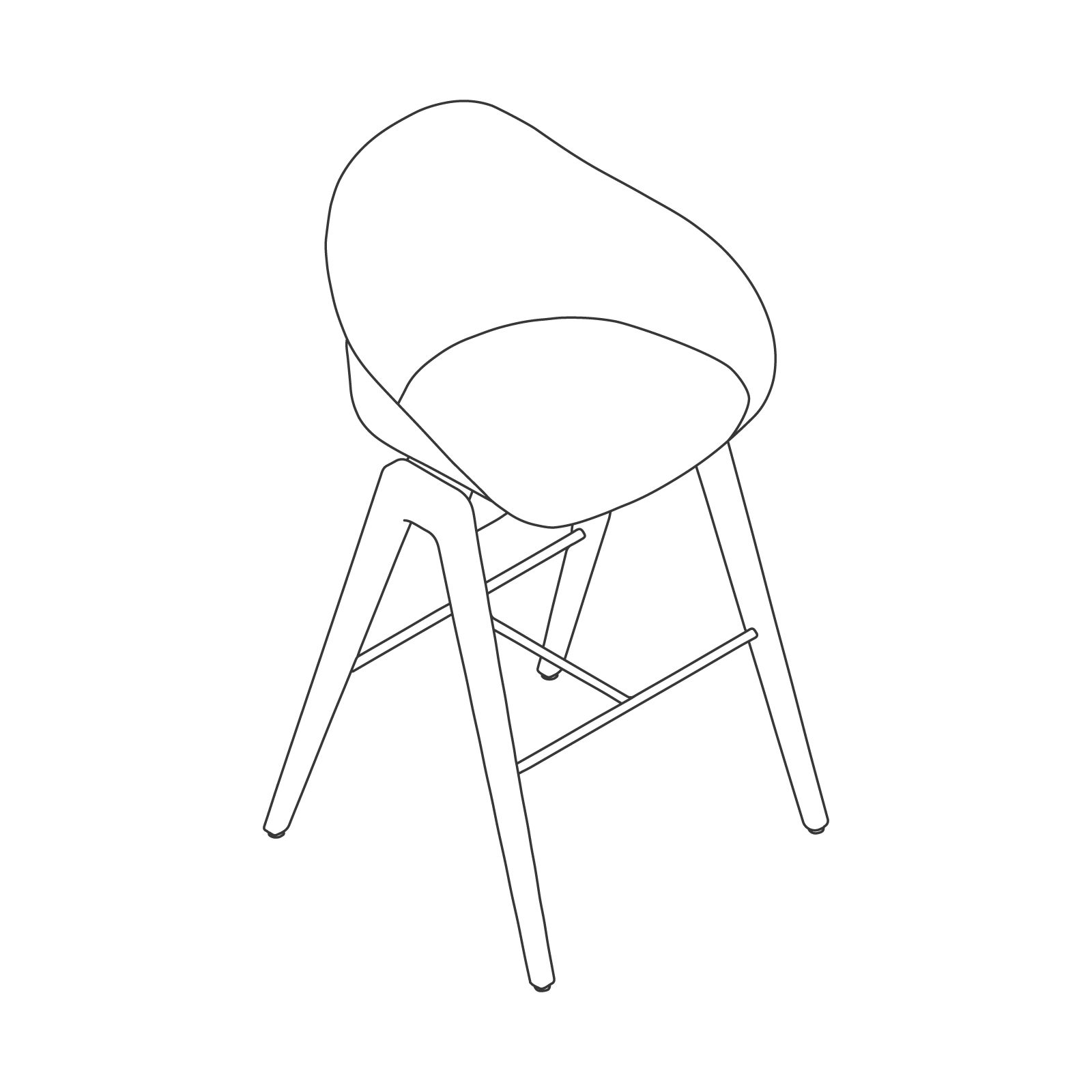 A line drawing - Ruby Wood Stool–Bar Height