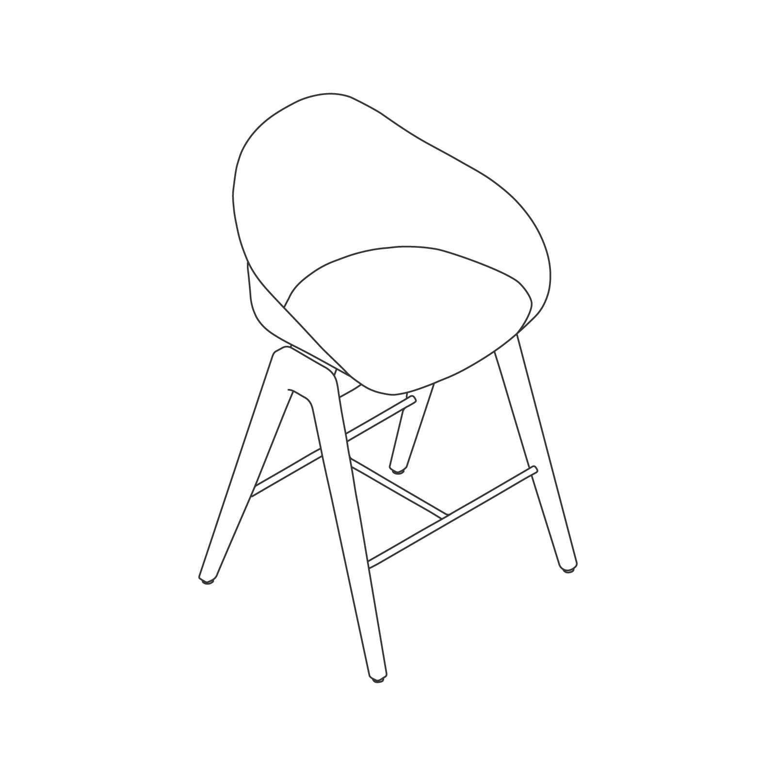 A line drawing - Ruby Wood Stool–Counter Height