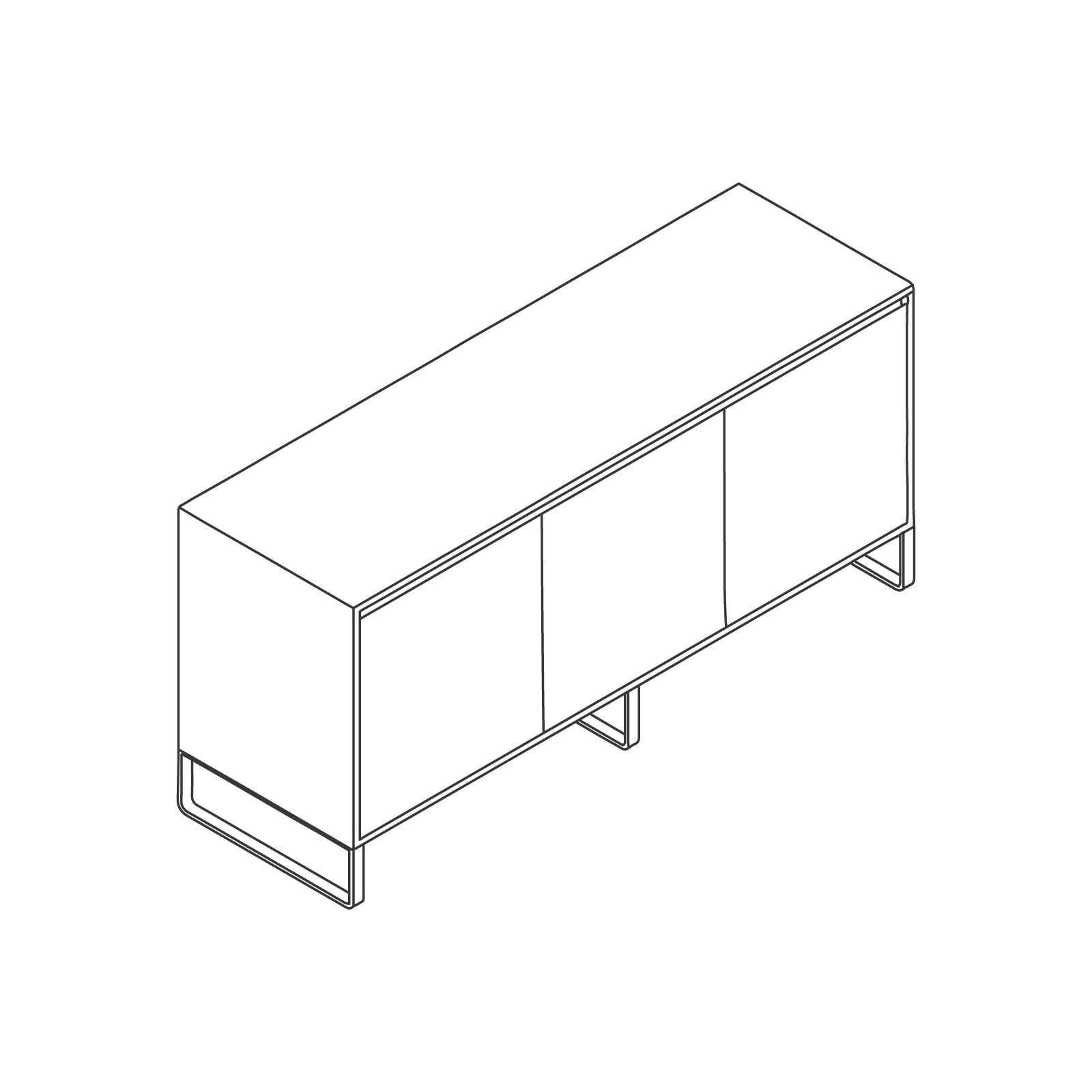 A line drawing of Sideboard Storage–3 Door.