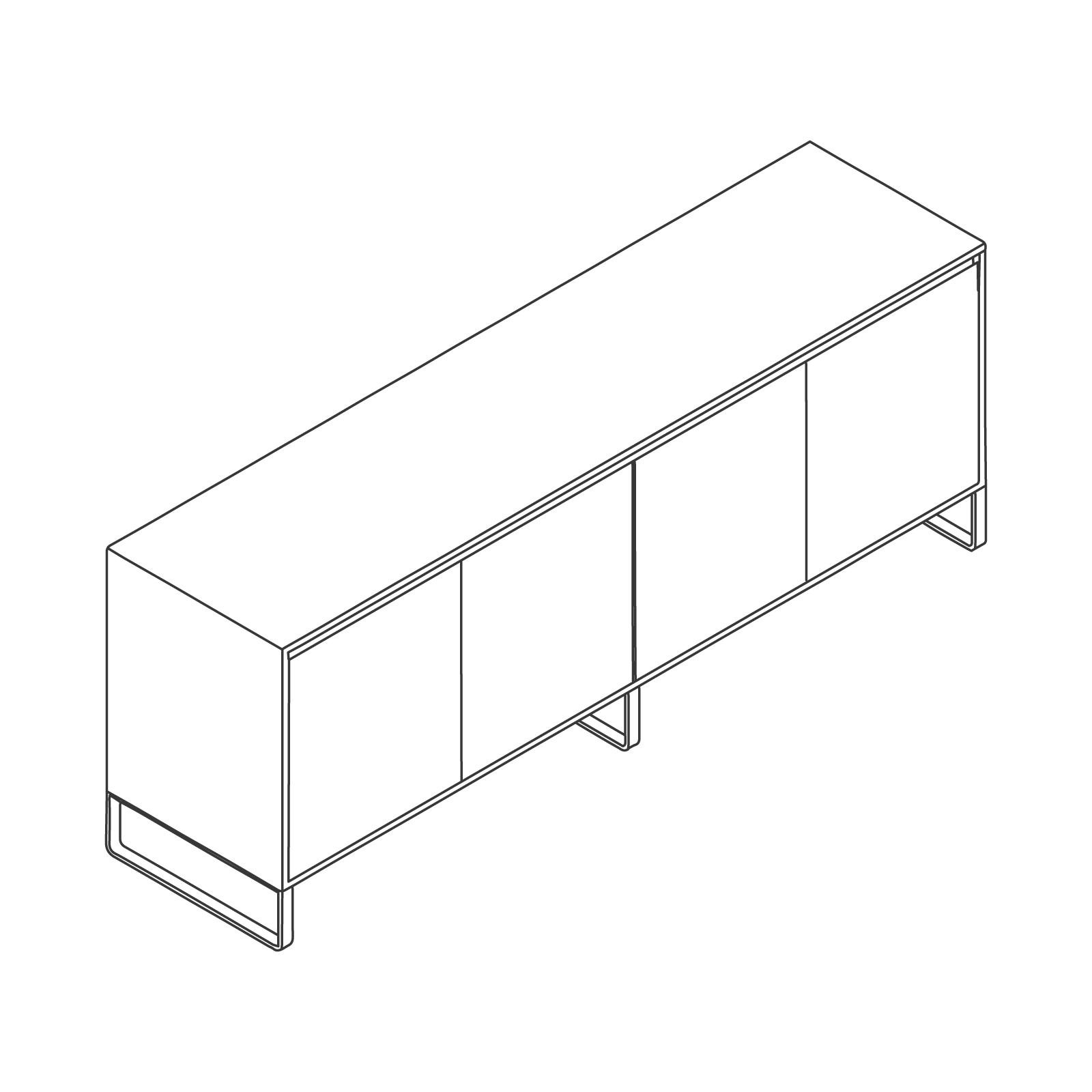 A line drawing of Sideboard Storage–4 Door.