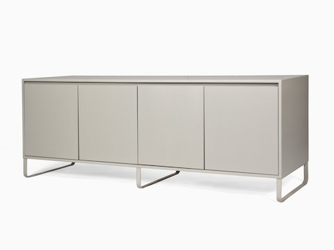 A grey naughtone Sideboard Storage with metal base, viewed at an angle.