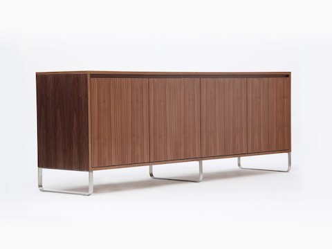 A walnut naughtone Sideboard Storage unit with a metal base, viewed at an angle.