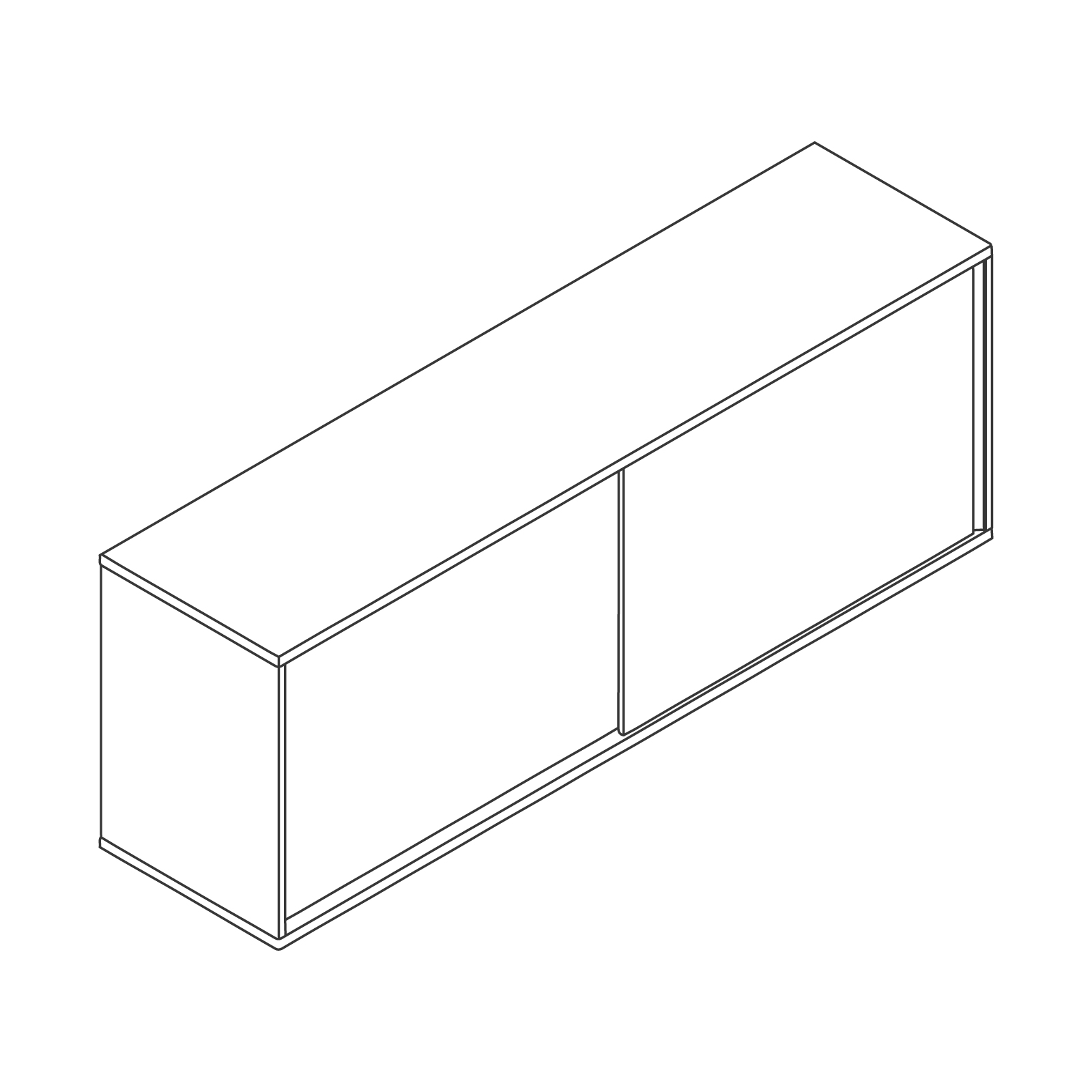 A line drawing of Softbox Storage Credenza–Large.