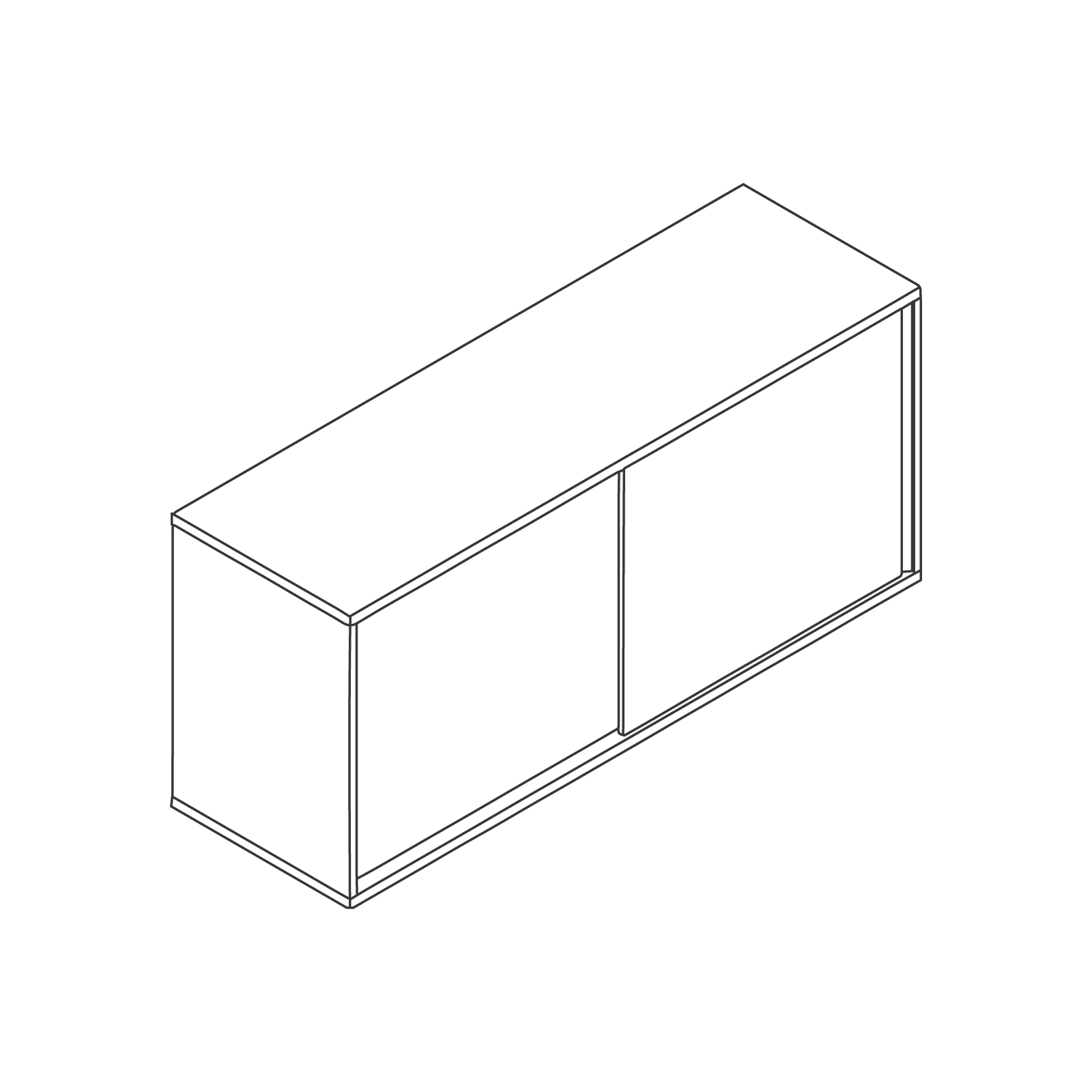 A line drawing of Softbox Storage Credenza–Medium.