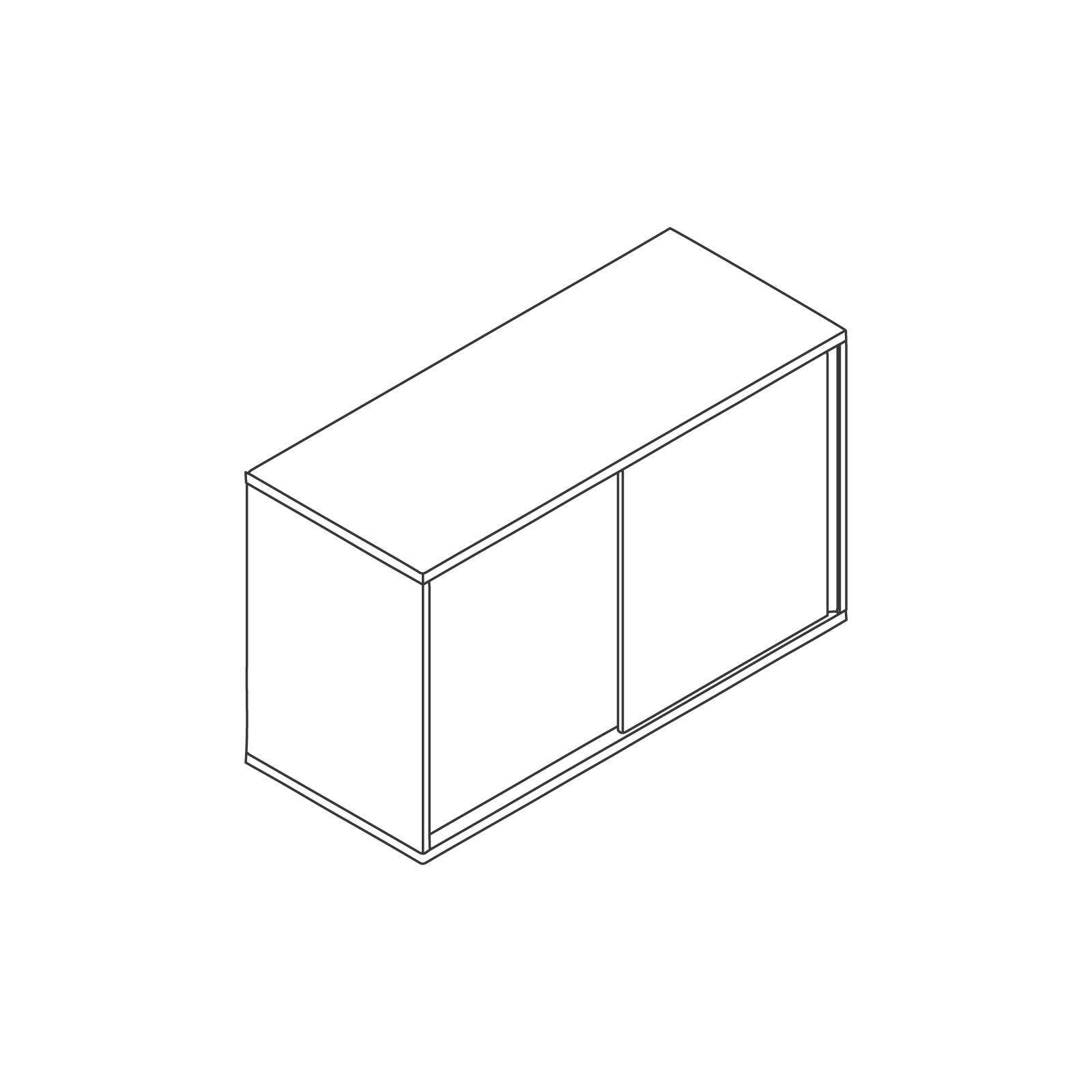 A line drawing of Softbox Storage Credenza–Small.
