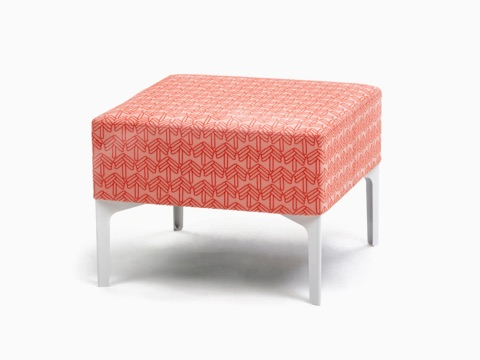An orange patterned single Symbol Bench with white legs, viewed at an angle.