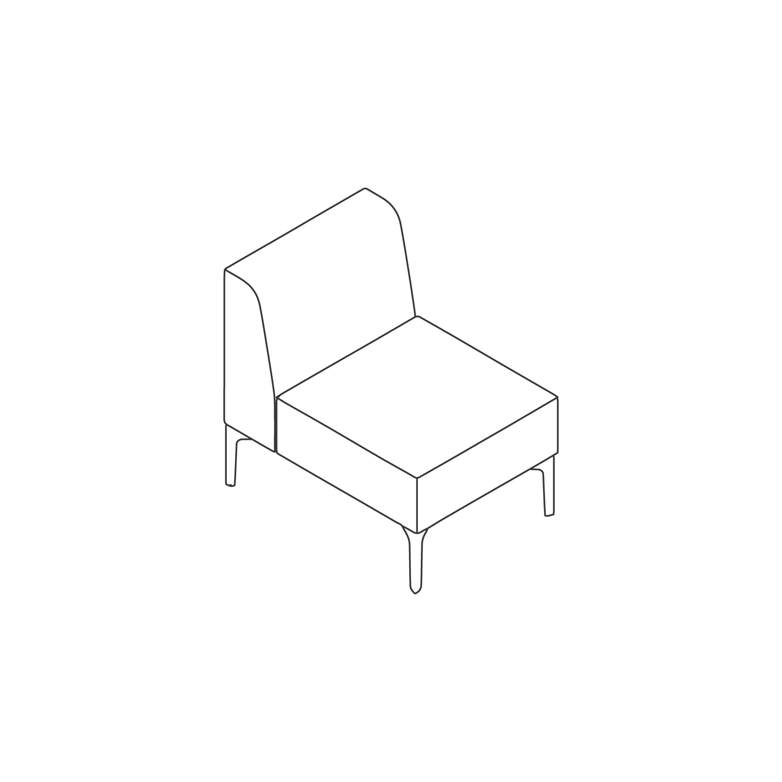 A line drawing of Symbol Modular Seating–Armless–1 Seat.