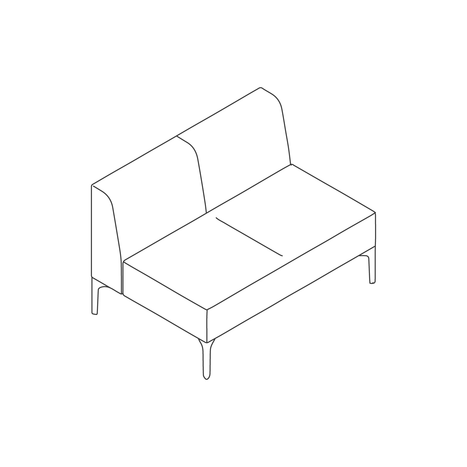 A line drawing of Symbol Modular Seating–Armless–2 Seat.