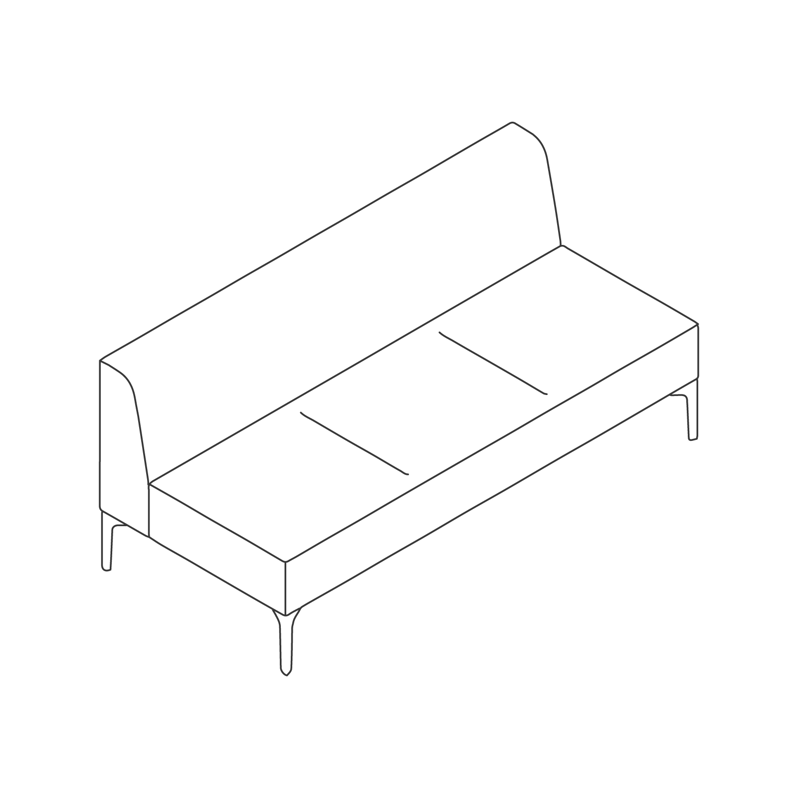 A line drawing of Symbol Modular Seating–Armless–3 Seat.
