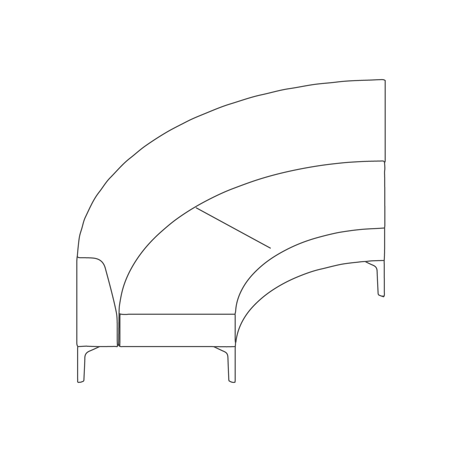 A line drawing of Symbol Modular Seating–Curve.