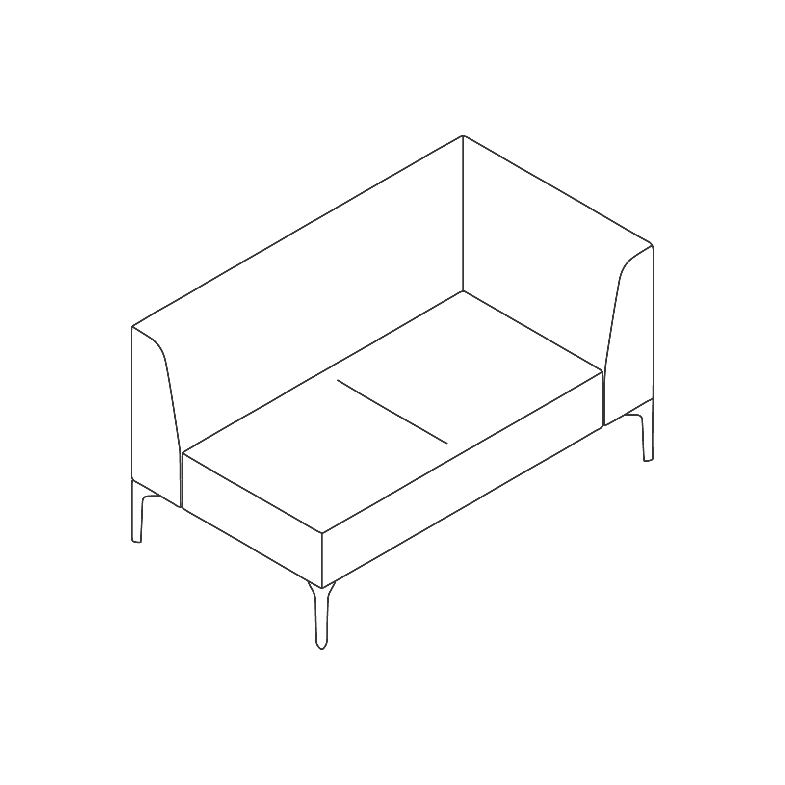 A line drawing of Symbol Modular Seating–Left Arm–2 Seat.