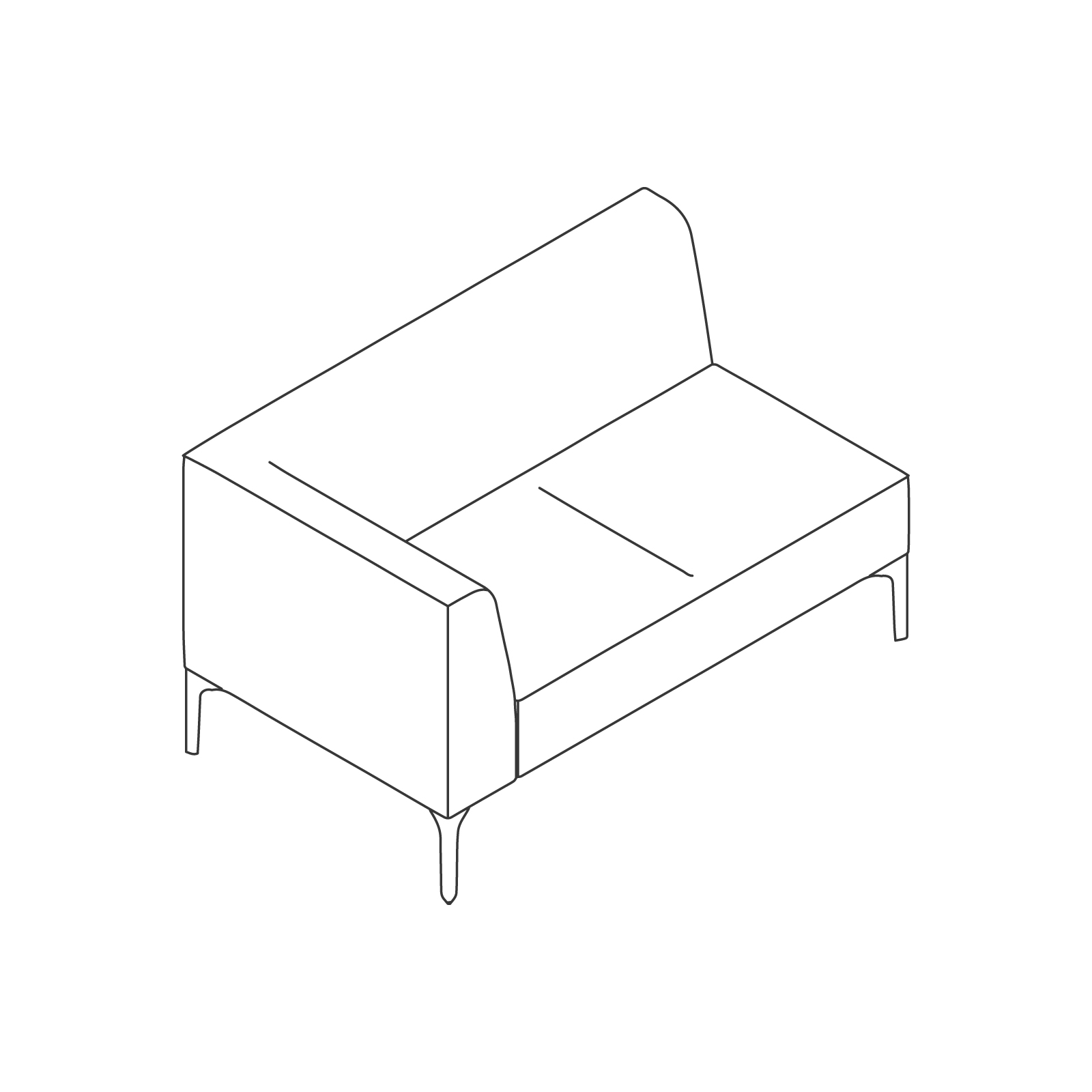 A line drawing of Symbol Modular Seating–Right Arm–2 Seat.