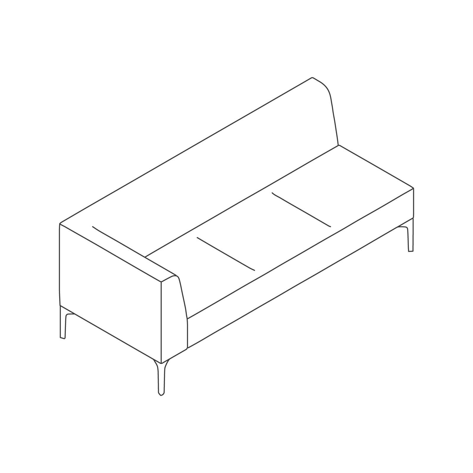 A line drawing of Symbol Modular Seating–Right Arm–3 Seat.