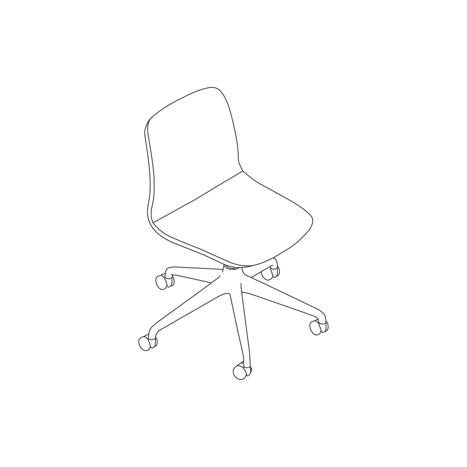 A line drawing of Viv Chair–Armless 5-Star Caster Base.