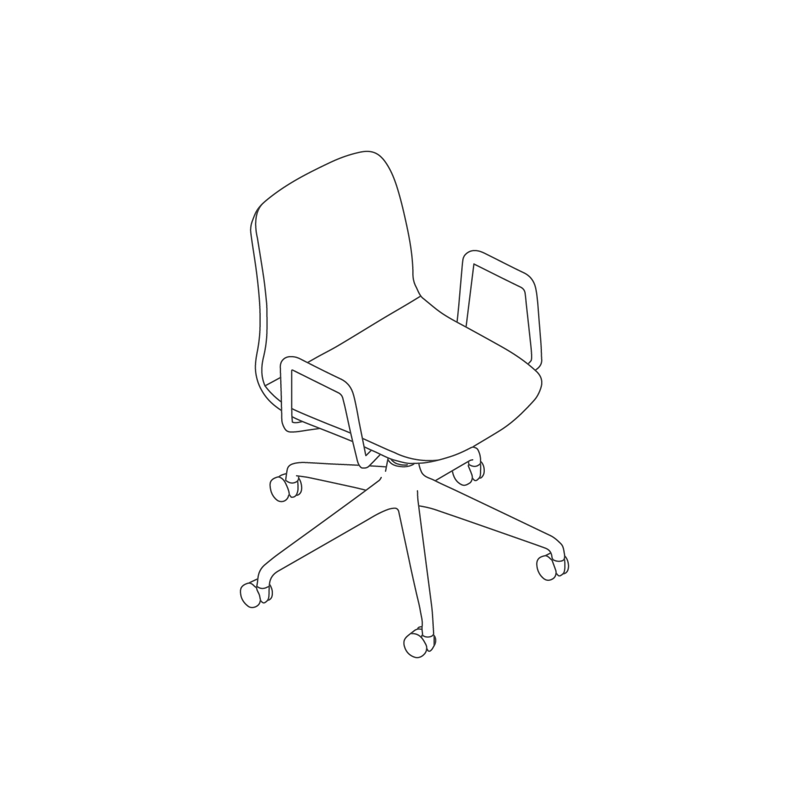 A line drawing of Viv Chair–With Arms 5-Star Caster Base.