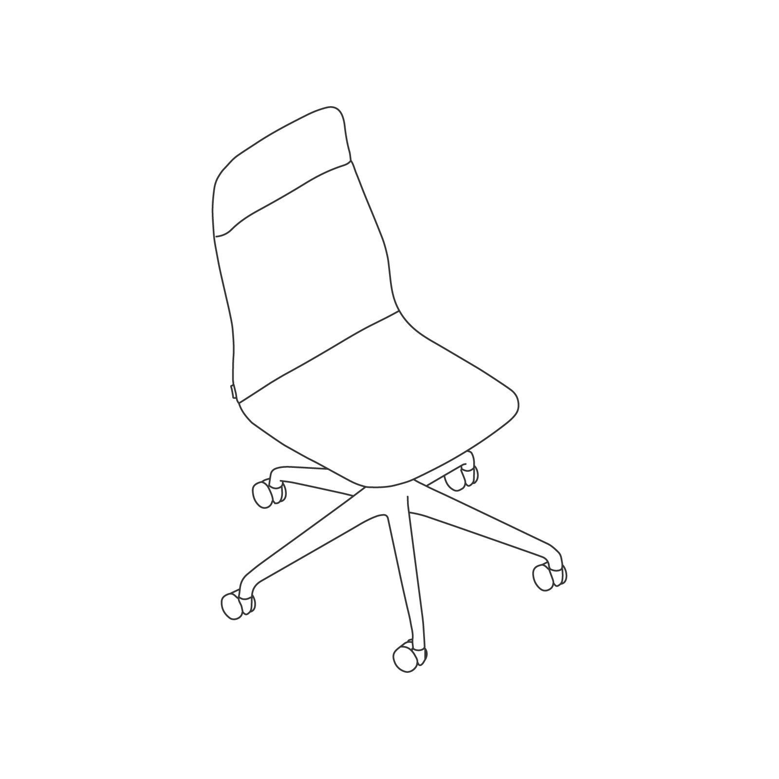 A line drawing - Viv High-Back Chair–Armless–5-Star Caster Base