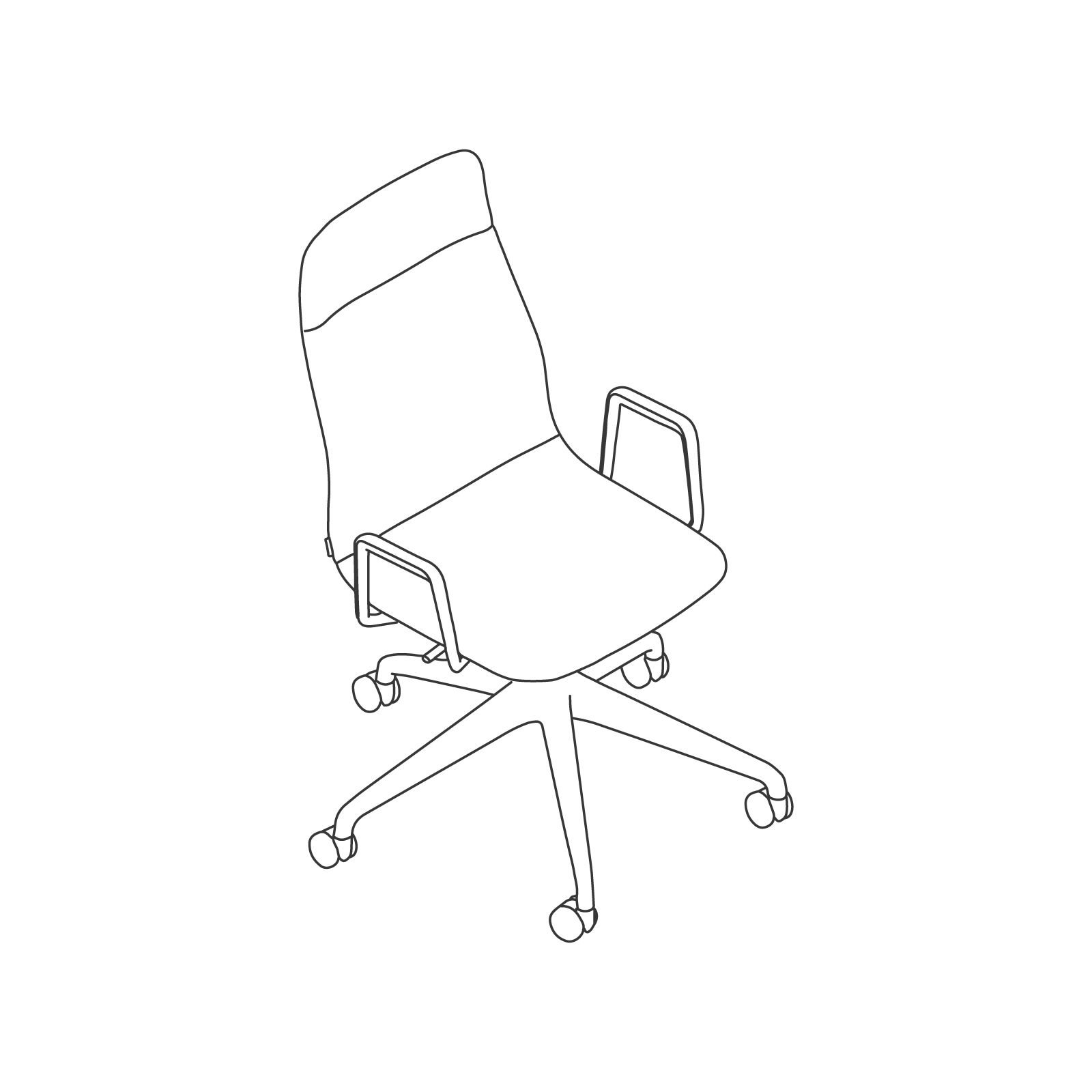 A line drawing - Viv High-Back Chair–With Arms–5-Star Caster Base