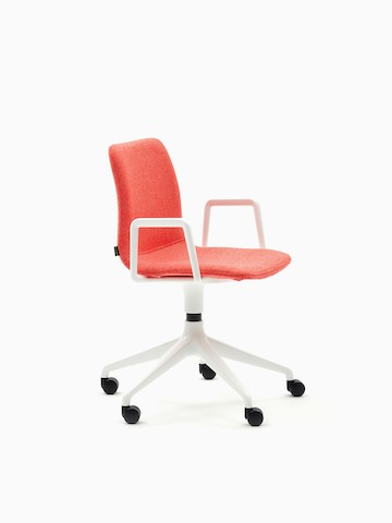 A coral upholstered naughtone Viv Chair with white armrests and a white, 5-star base, viewed at an angle.