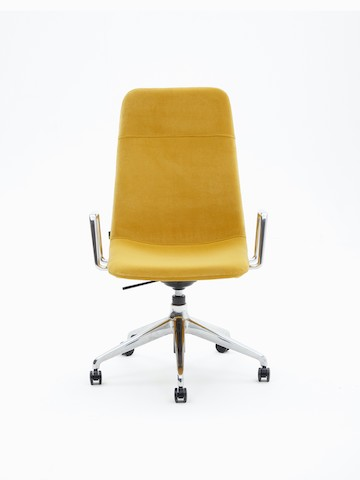 Viv High-Back Armchair, upholstered in yellow velvet with polished 5-star aluminium base and arms, viewed from the front