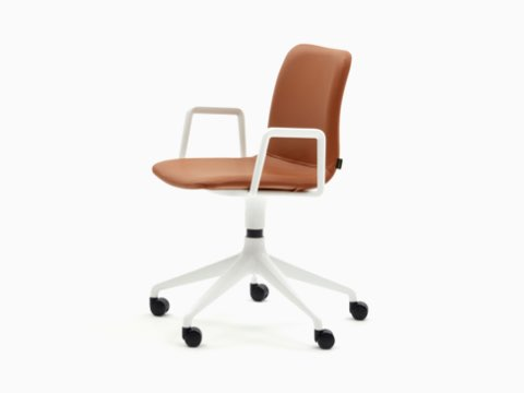 A leather upholstered naughtone Viv Chair with white armrests and a white, 5-star base, viewed at an angle.