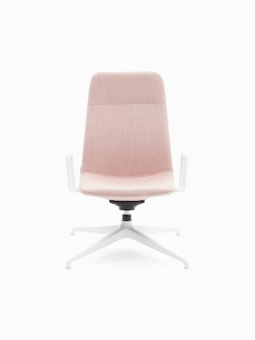 Front view of a Viv High-Back Lounge Armchair, upholstered in pale pink with white 4-star base and arms.