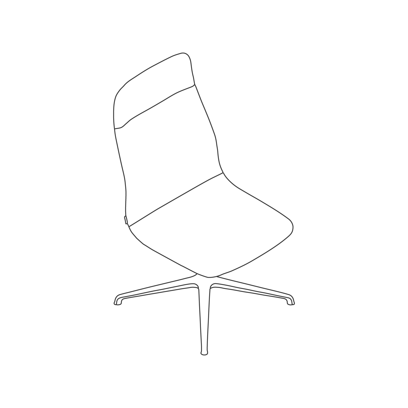 A line drawing - Viv High-Back Side Chair–Armless–4-Star Swivel Base