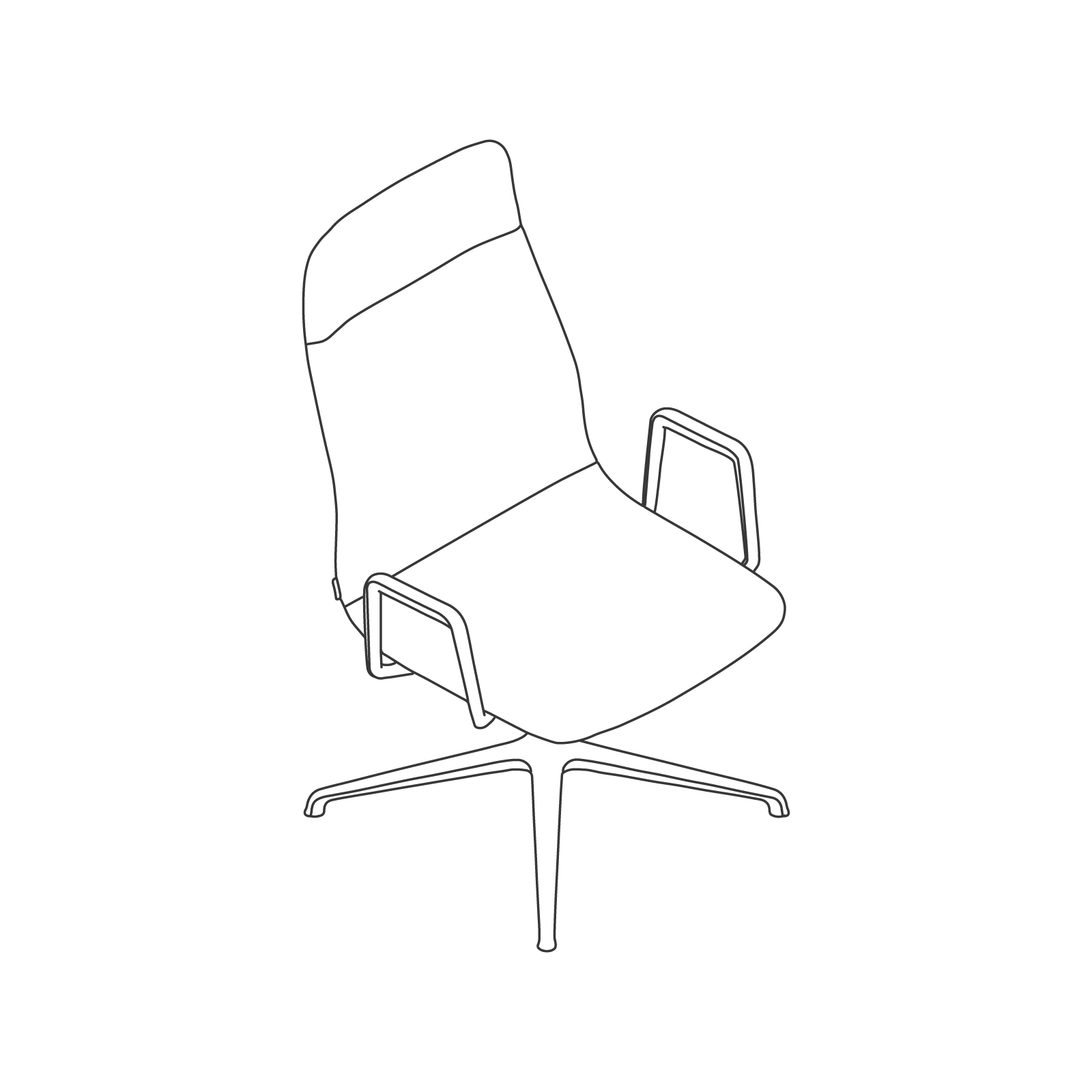 A line drawing - Viv High-Back Side Chair–With Arms–4-Star Swivel Base