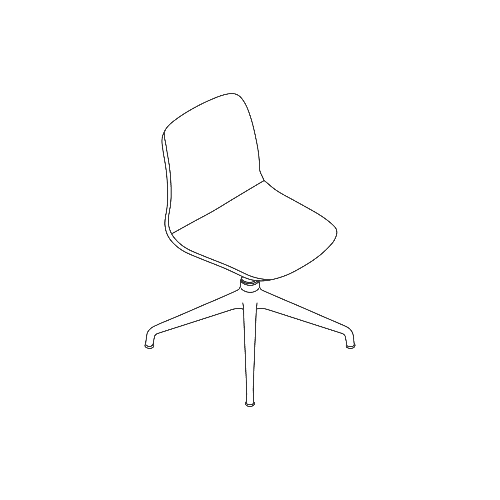 A line drawing of Viv Side Chair–Armless 4-Star Swivel Base.