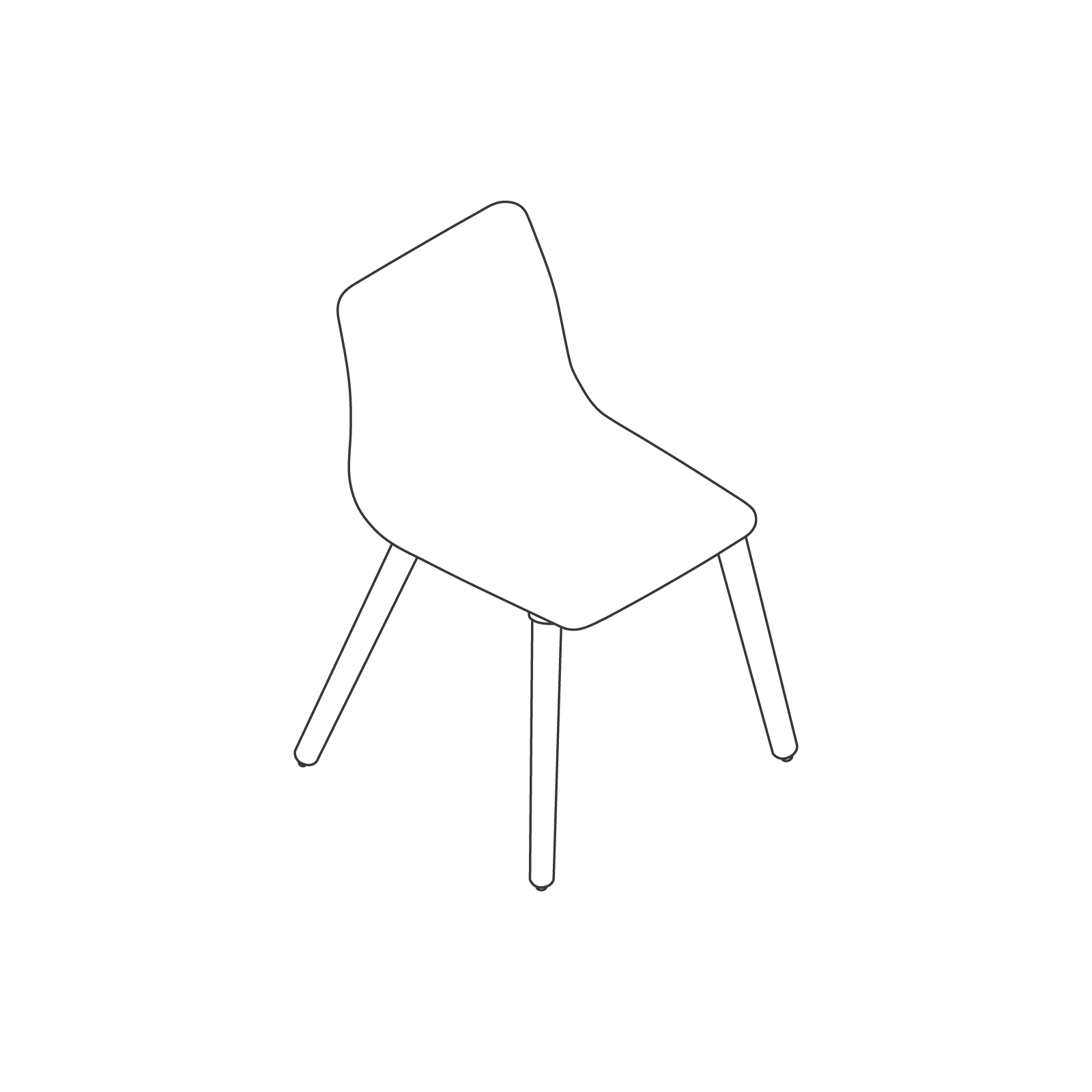 A line drawing - Viv Side Chair–Armless–Dowel Base