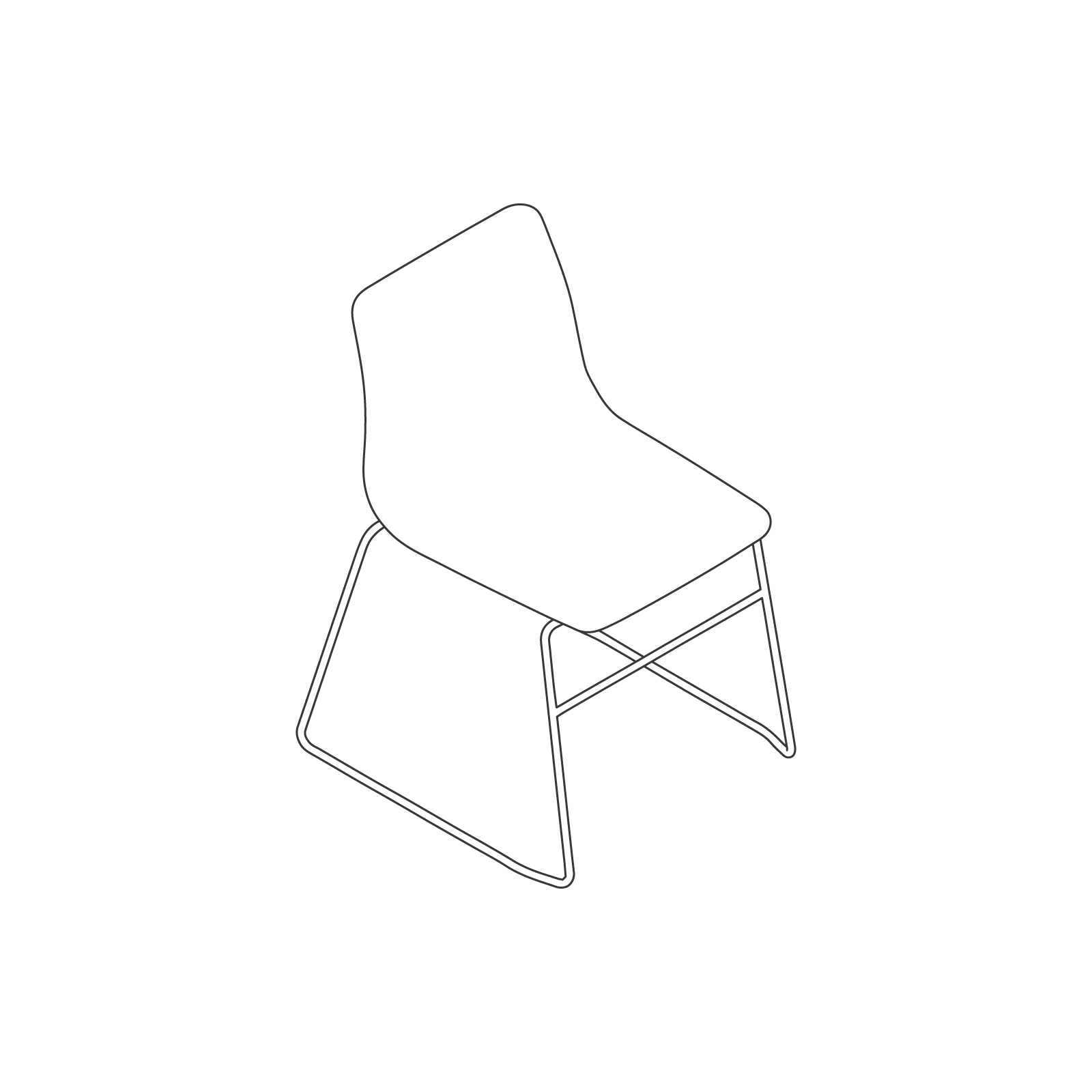 A line drawing of Viv Side Chair–Armless Sled Base.