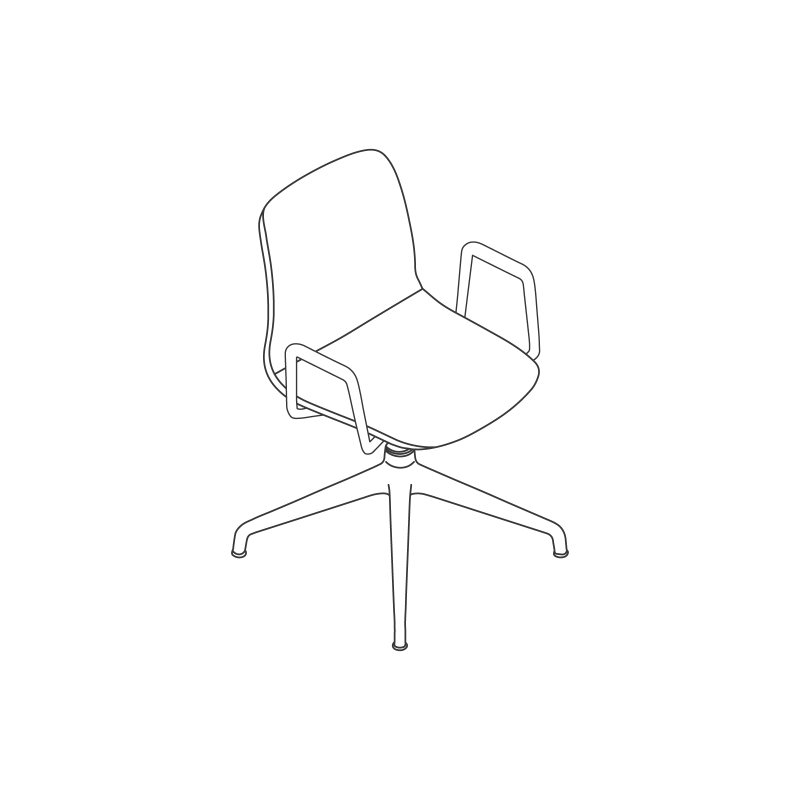A line drawing of Viv Chair–With Arms 4-Star Swivel Base.