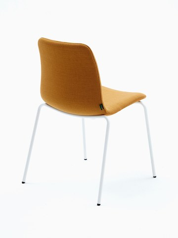 Viv Side Chair upholstered in yellow fabric with white 4 leg base.