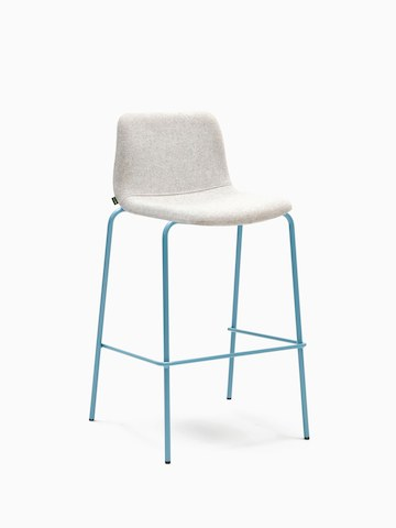 A gray naughtone Viv Stool with a metal base, viewed at an angle.